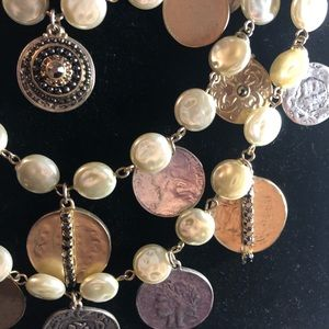 Gorgeous gold and silver coin pearl necklace